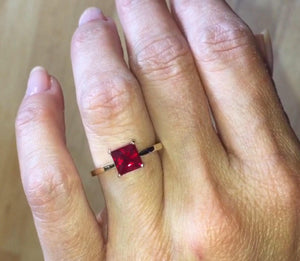 Lab Ruby Princess Cut Engagement Ring 14kt Yellow Gold