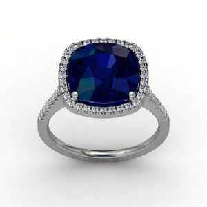 Lab Sapphire Cushion Cut Engagement Ring 14kt White Gold