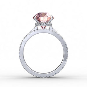 Pink Peach Morganite Oval Diamond Wedding Ring 18k White Gold