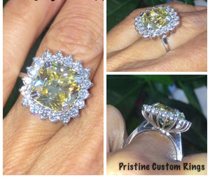 Yellow Diamond Engagement Ring Genuine Diamond Halo Yellow Cushion Cut Diamond Simulate Ring Vintage Gold Anniversary Pristine Custom Rings
