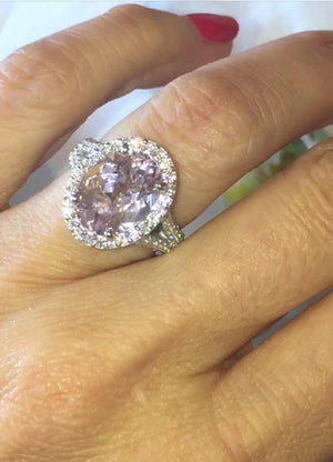 Morganite Oval Diamond Engagement Ring 18k White Gold