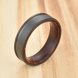 Mens Wedding Band Snake Wood Sandblasted Gun Metal Grey Titanium Wedding Band unique mens wood bands rings by pristine
