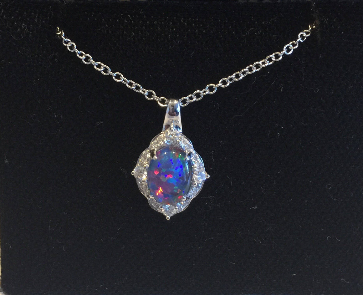 Natural Opal Pendant .15ct Genuine Diamonds Halo Necklace .84ct Rare Coober Pedy Mine Opal Necklace  Unique Gift Pristine Custom Rings