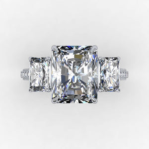 Forever One Moissanite Radiant Diamond  Engagement Ring 14kt White Gold