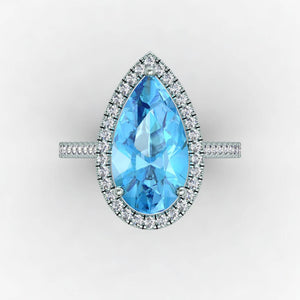 Aquamarine Pear Shaped Diamond Engagement Ring 18kt White Gold