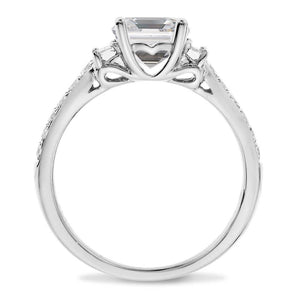 Moissanite Emerald Cut Diamond Engagement Ring 18kt Gold