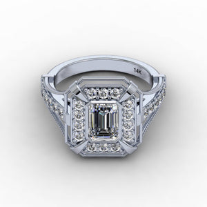 Forever One Moissanite Emerald Cut Diamond Engagement Ring 14kt White Gold