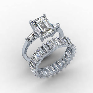 Forever One Moissanite Ring  3 Stone 14kt White Gold