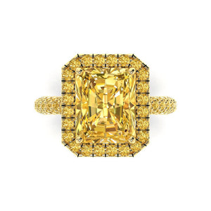 Yellow Diamond Engagement Ring Radiant Cut Yellow Diamond Simulate Butterfly Halo Diamond Ring 14k Yellow Gold Ring Pristine Custom Rings