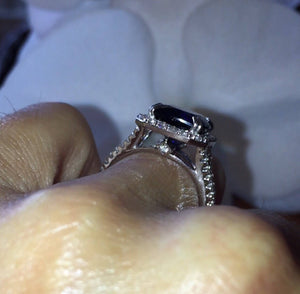 Lab Sapphire Long Cushion Cut Engagement Ring 18k White Gold