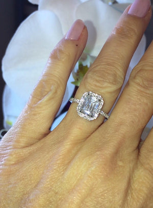 Moissanite Emerald Cut Diamond Engagement Ring 14kt White Gold