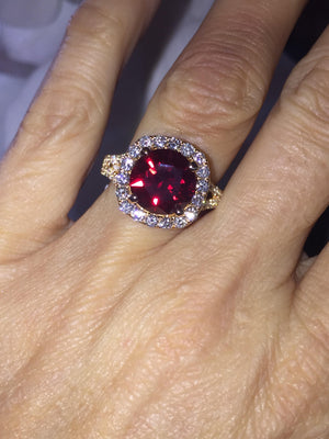 Lab Ruby Ring Round Brilliant Diamond Engagement 18kt Rose Gold