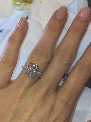 Forever One Moissanite Radiant Pave Diamond Engagement Ring 14kt White Gold