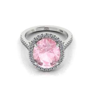 Pink Morganite Oval Diamond Engagement Ring 14kt White Gold