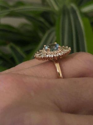 Aquamarine Vintage Diamond Engagement Ring 18kt Rose Gold