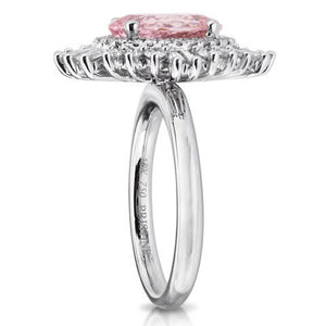 Pink Morganite Oval Diamond Engagement 18kt White Gold