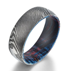Box Elder Wood Mens Wedding Ring Twist Damascus Steel Comfort Fit Wooden Ring