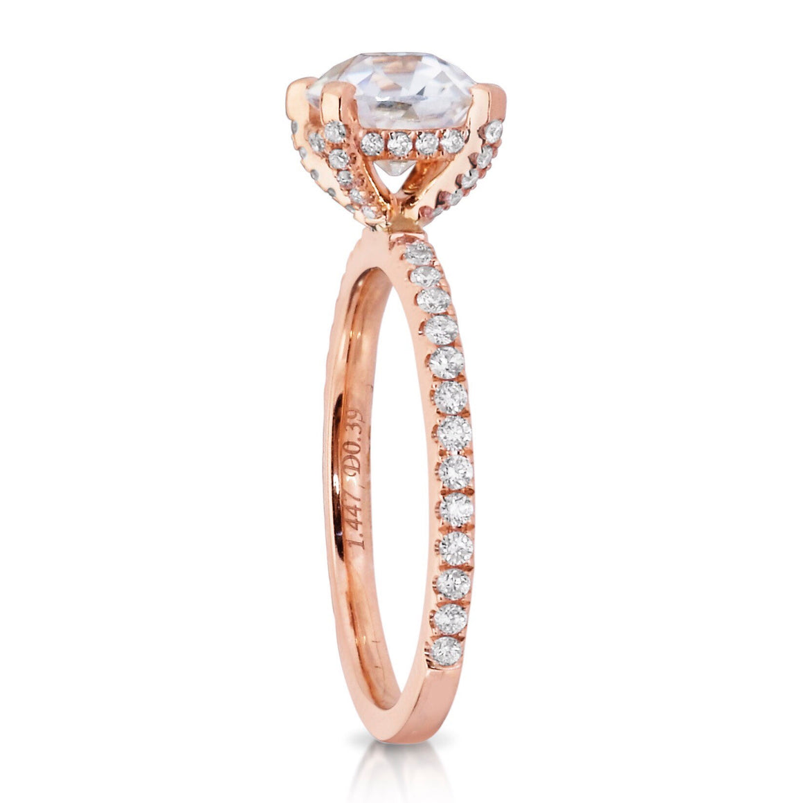 Moissanite Cushion Cut Diamond Engagement Ring 18kt Rose Gold