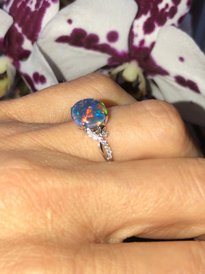 Natural Black Australian Triplet Opal DIamond Ring 18kt White Gold