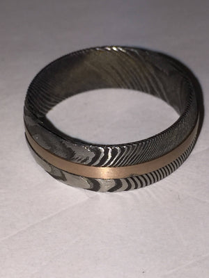 Damascus Twist Steel Rose Tungsten Mens Wedding Band Twist Damascus Steel Inalyed with Rose Tungsten Mens Wedding Band