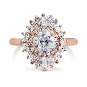 Moissanite Round Diamond Wedding Ring 18kt Rose Gold