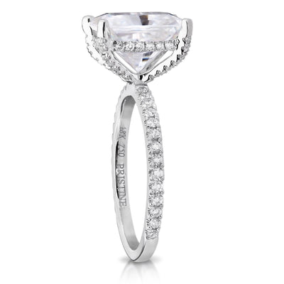 Moissanite Engagement Ring 3 90ct Colorless Radiant Cut Ring  44ct Natural  Diamonds Unique Ring Hidden Halo Ring Pristine Custom Rings