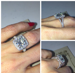 Forever One Moissanite Diamond Radiant Engagement Ring 18kt White Gold
