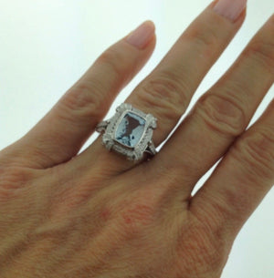 Aquamarine Cushion Vintage Diamond Engagement Ring 18kt White Gold