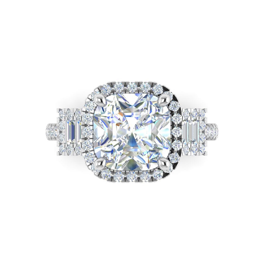 Forever One Cushion Cut Moissanite Engagement Ring Set 4.30ct 14kt White Gold