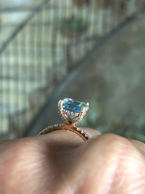 Aquamarine Pillow Cut Diamond Engagement Ring 18kt Gold