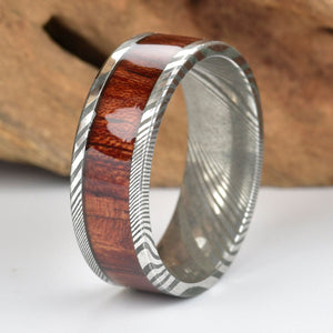 Rose Wood Twist Damascus Steel Mens Wedding Band
