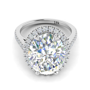 White Sapphire Oval Diamond Engagement Ring 18k White Gold