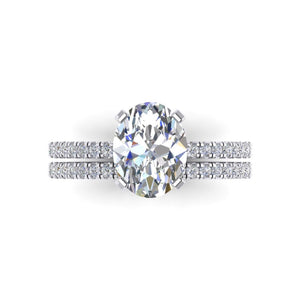Forever One Moissanite Oval Diamond Wedding Ring Set 18kt White Gold