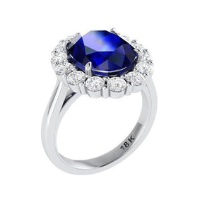 Lab Sapphire Oval Diamond Engagement Ring 18k Gold