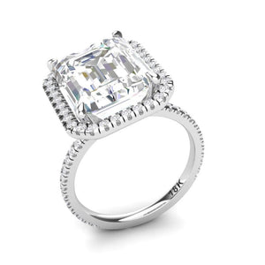 Moissanite Emerald Cut Engagement Ring 14kt White Gold
