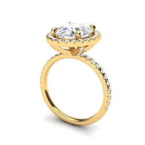 Forever One Moissanite Oval  Engagement Ring 18kt Yellow Gold