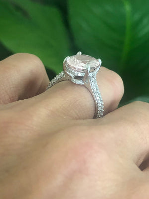 Pink Oval Morganite Diamond Engagement Ring 18kt White Gold