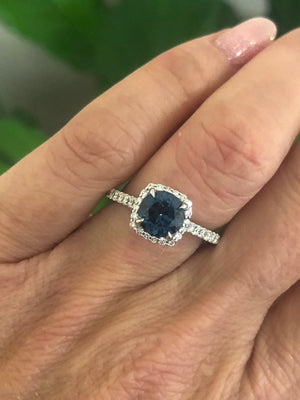 Blue Topaz  Diamond Round Engagement Ring 18kt White Gold