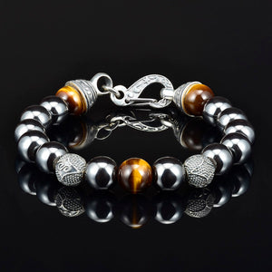 10mm Mens Beaded Bracelet Hematite Bracelet Silver Lobster Claw Clasp Silver 10mm Carved Beads