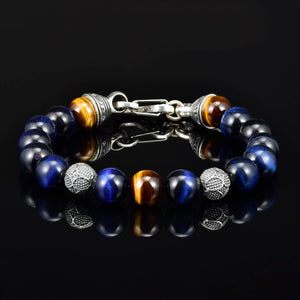 Tiger Eye Mens Bead Bracelet 10mm Silver Magnetic Clasp