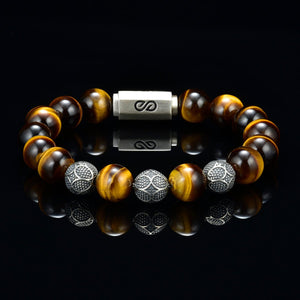 Tiger Eye Bracelet,Tiger Eye Gemstone ,Man,Woman,Mens Beaded Bracelet,Tiger Eye Gemstone Bracelet, Mens Jewelry 10MM Beads, Silver, Bracelet