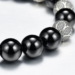 8mm Mens Beaded Bracelet Black Onyx Matt Finish Silver Magnetic Clasp Silver Carved Beads