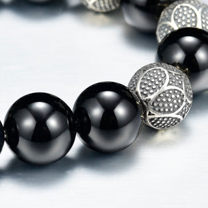8mm Mens Beaded Bracelet Black Onyx Silver Magnetic Clasp  Carved Beads