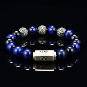 10mm Mens Beaded Bracelet Blue Tiger Eye Silver Magnetic Clasp Silver Carved Beads
