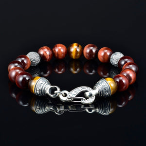 10mm Mens Beaded Bracelet Tiger Eye Silver Lobster Claw Clasp Silver Carved Beads