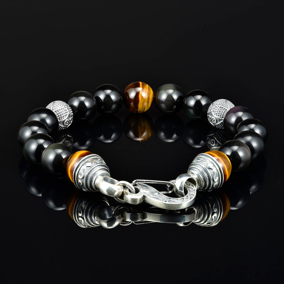 10mm Mens Beaded Bracelet Black Onyx Silver Lobster Claw Clasp