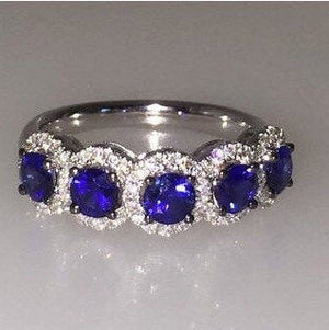 Sapphire 5 Stone Diamond Wedding Band Anniversary 18kt White Gold