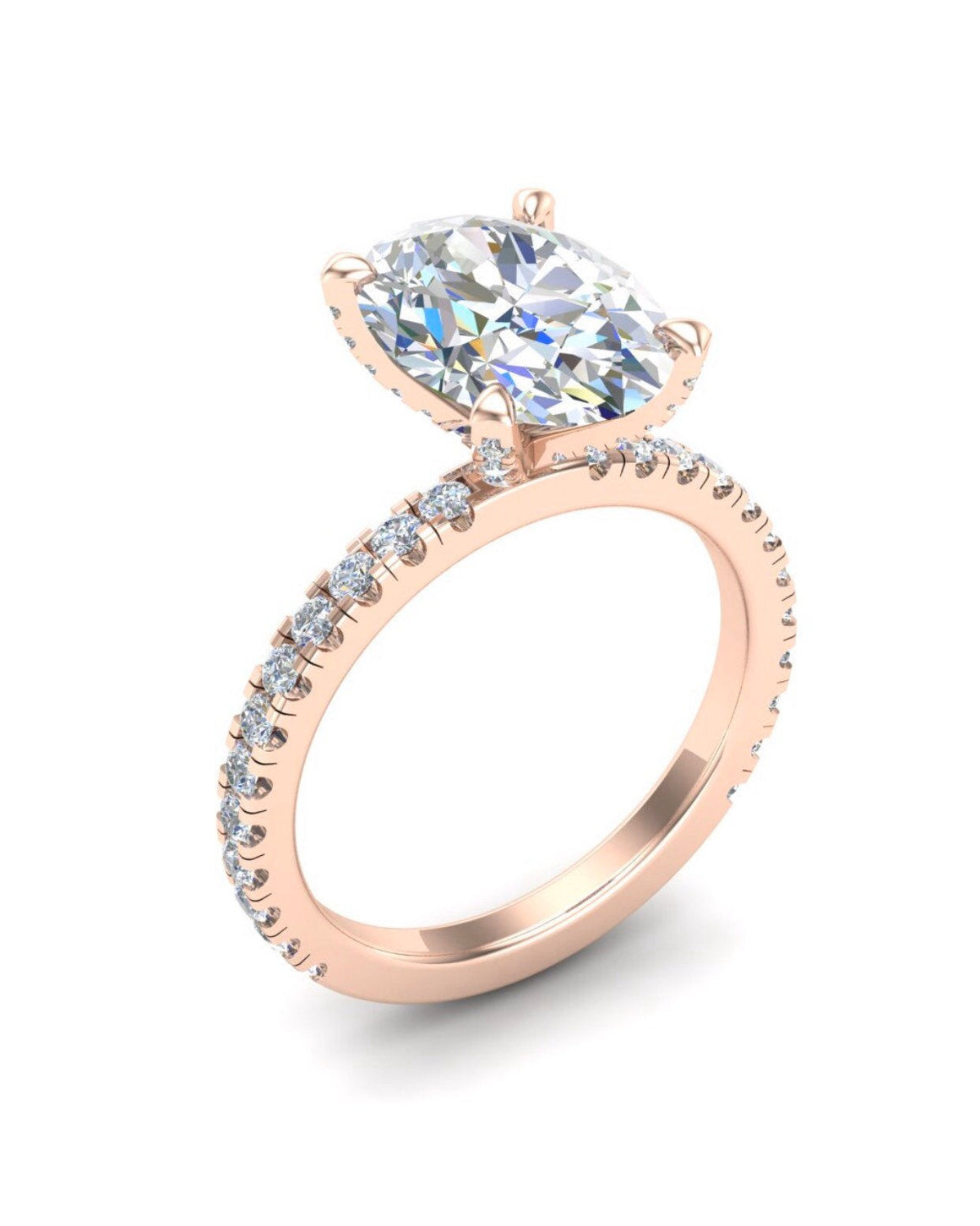 Moissanite Oval Brilliant Engagement Ring 18kt Rose Gold