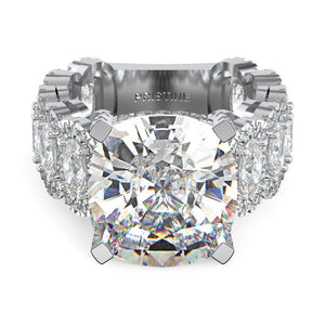 Moissanite Cushion Engagement Ring 14kt White Gold