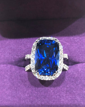 Lab Sapphire Diamond Long Cushion Cut 14kt White Gold